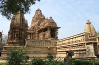 View of the Glorious Lakshamana temple with its exquisitely carved Adhisthana.